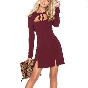 Stone Cold Fox Maroon Front Tie Long Sleeve Dress
